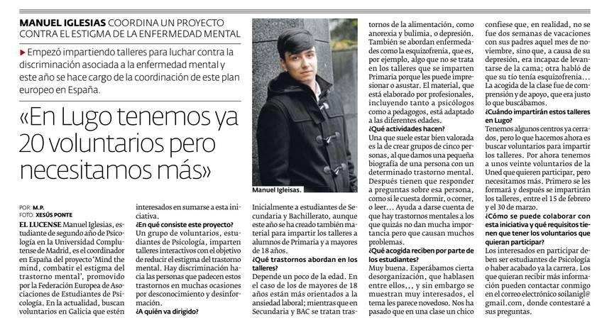 """Entrevista en el periódico """"El Progreso"""" 16/11/2016."""