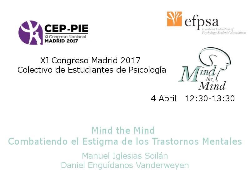 """Anuncio del taller de Mind the Mind en el """"XI Congreso del Colectivo de Estudiantes de Psicología 2017""""."""