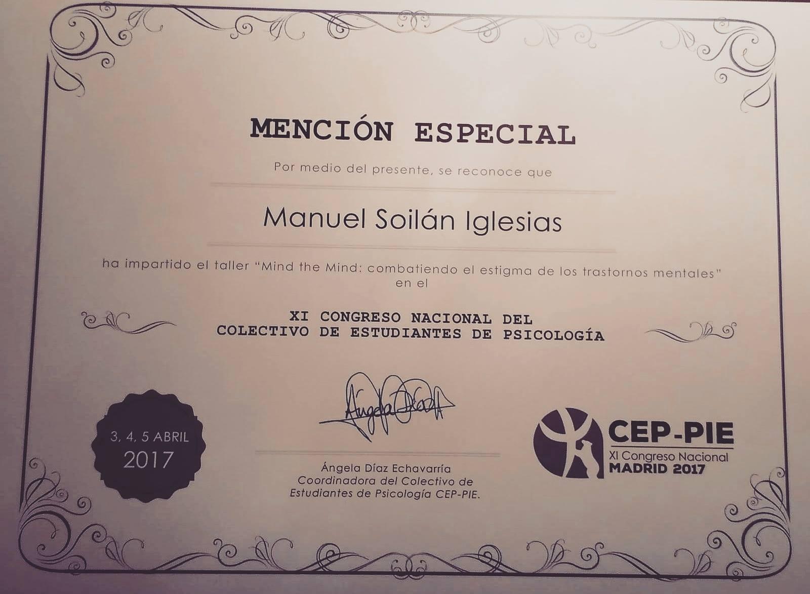 Mención Especial a Manuel Iglesias - XI Congreso del Colectivo de Estudiantes de Psicología 2017.