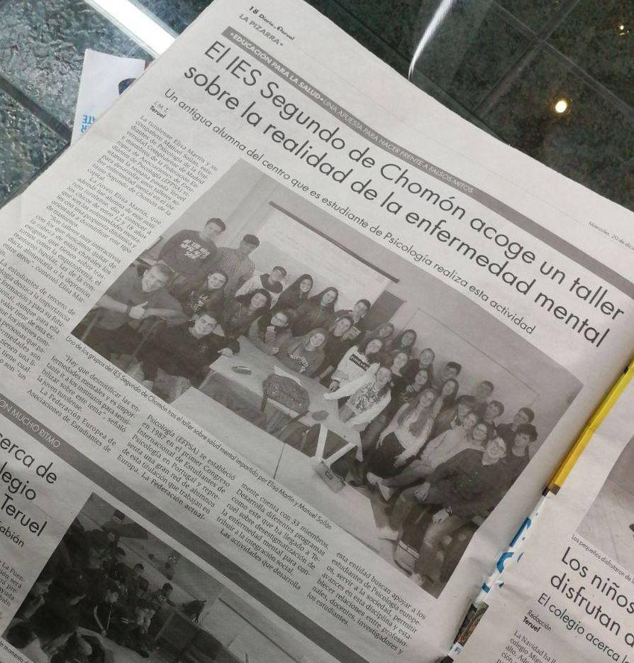 """Noticia sobre los talleres de Mind the Mind en el periódico """"El Diario de Teruel""""."""