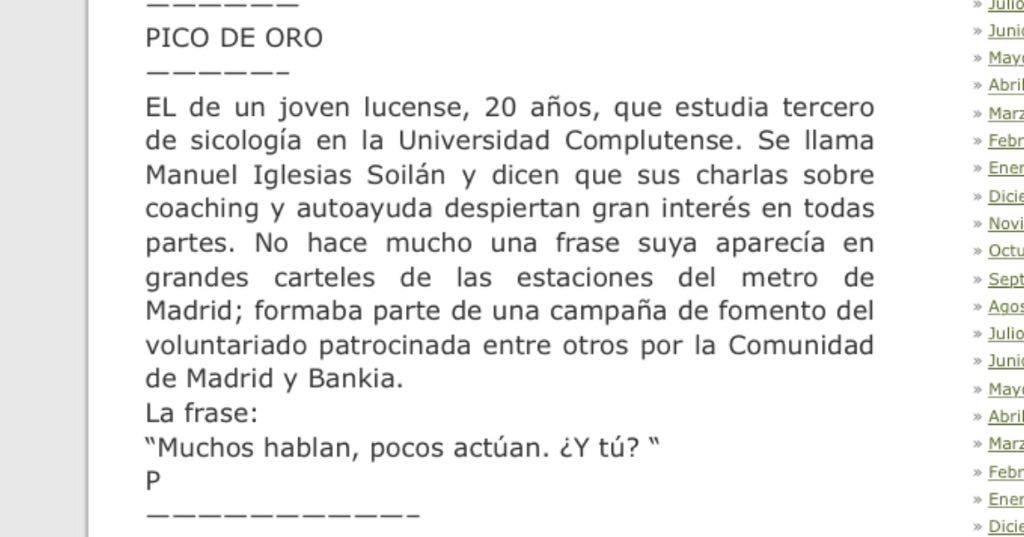 Noticia sobre Manuel Iglesias en el Blog de Paco Rivera.