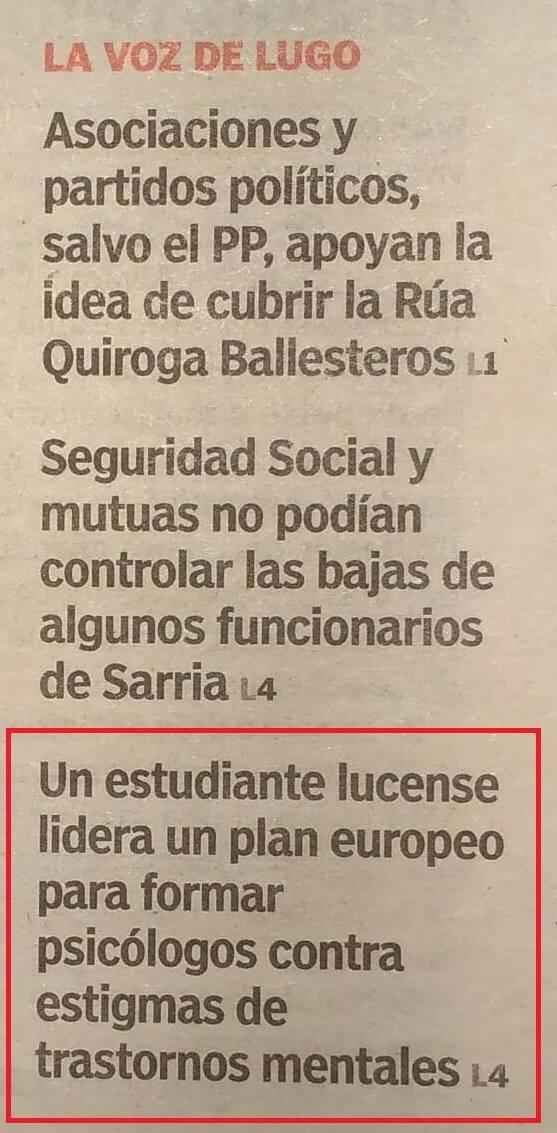 """Portada en el periódico """"La Voz de Galicia"""" en la que Manuel Iglesias es nombrado como: """"Un estudiante lucense lidera un plan europeo""""."""