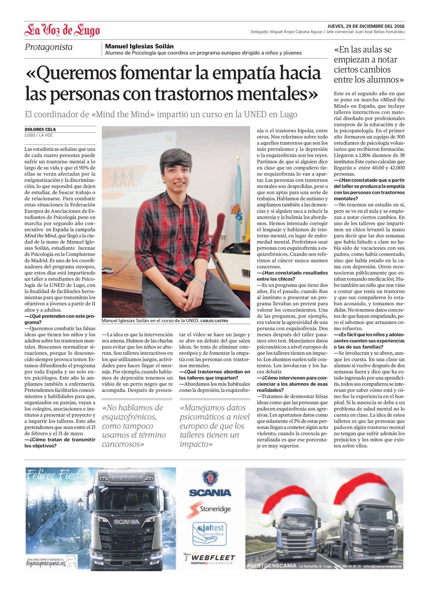 """Entrevista en el periódico """"La Voz de Galicia"""" 29/12/2016."""