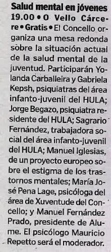 """Noticia en el periódico """"La Voz de Galicia"""" sobre la mesa rendonda """"Falemos de Xuventude"""" 18/10/2018."""