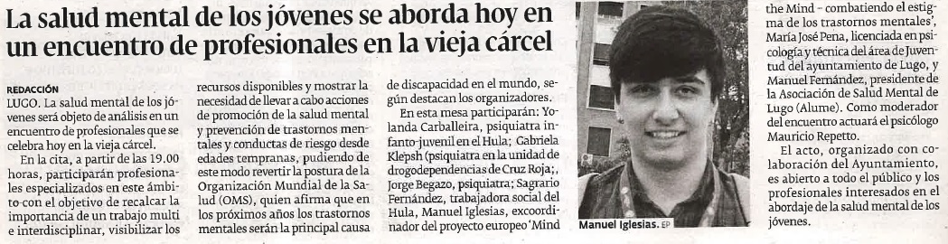 """Noticia en el periódico """"El Progreso"""" sobre la mesa rendonda """"Falemos de Xuventude"""" + Fotografía de Manuel Iglesias 18/10/2018."""