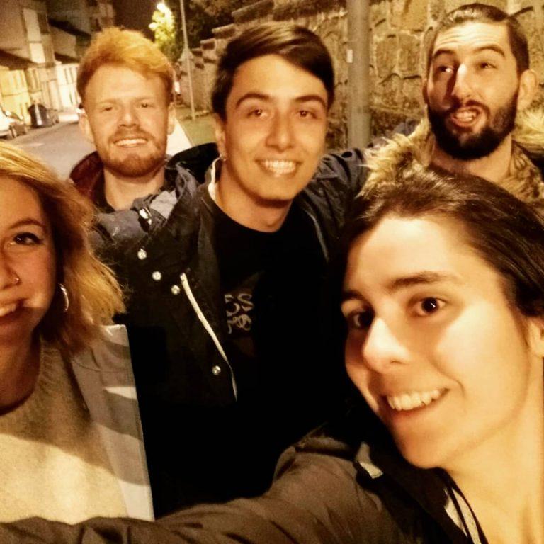 Manuel Iglesias Soilán con sus amigos el día de su cumpleaños.